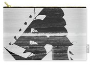 Black And White Pirate Ship Against The Sea And Crushing Waves. Double Exposure Carry-all Pouch