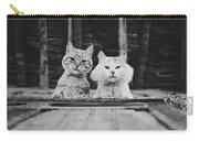 Black And White Portrait Of Two Aadorable And Curious Cats Looking Down Through The Window Carry-all Pouch