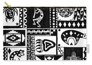 Black And White Southwest Sampler Carry-all Pouch
