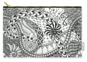 Black And White Tangle Art Carry-all Pouch