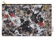 Black And White With Red And Gold Carry-all Pouch
