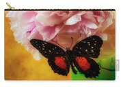 Black Butterfly On Peony Carry-all Pouch