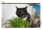 Black Cat Eating Cat Grass Carry-all Pouch