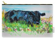Black Cow Lying Down Painting Carry-all Pouch