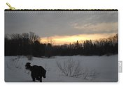 Black Dog Exploring Snow At Dawn Carry-all Pouch