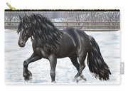 Black Friesian Horse In Snow Carry-all Pouch by Crista Forest