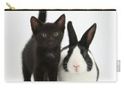 Black Kitten And Dutch Rabbit Carry-all Pouch by Mark Taylor