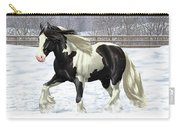 Black Pinto Gypsy Vanner In Snow Carry-all Pouch by Crista Forest