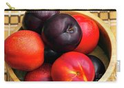 Black Plums And Nectarines In A Wooden Bowl Carry-all Pouch