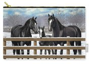 Black Quarter Horses In Snow Carry-all Pouch by Crista Forest