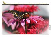 Black Swallowtail Butterfly With Coneflower And Monarda Carry-all Pouch