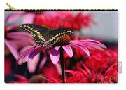 Black Swallowtail Butterfly With Coneflowers And Bee Balm Carry-all Pouch