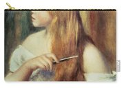 Blonde Girl Combing Her Hair Carry-all Pouch by Pierre Auguste Renoir