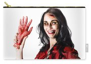 Bloody Zombie Woman With Severed Hand Carry-all Pouch