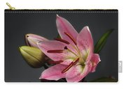 Blossoming Pink Lily Flower On Dark Background Carry-all Pouch by Sergey Taran