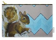 Blue And Beige Chevron Squirrel Carry-all Pouch