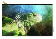 Blue And Green Iguana Profile Carry-all Pouch