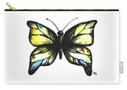 Blue And Yellow Watercolor Butterfly Carry-all Pouch