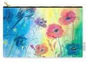 Blue Bird And Flowers Carry-all Pouch