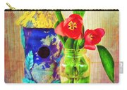Blue Birdhouse And Red Tulips 2 Carry-all Pouch
