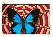 Blue Black Butterfly In Basket Carry-all Pouch