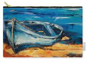 Blue Boat On The Mediterranean Beach Carry-all Pouch