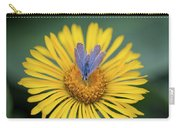 Blue Butterfly On Alpine Sunflower Carry-all Pouch
