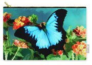 Blue Butterfly On Lantana Plant Oil Painting Carry-all Pouch