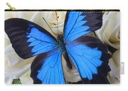 Blue Butterfly On White Roses Carry-all Pouch