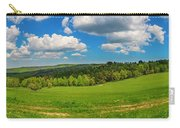 Blue Cloudy Sky Over Green Hills And Country Road Carry-all Pouch