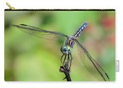 Blue Dasher Dragonfly On A Branch Carry-all Pouch