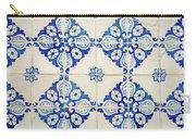 Blue Diamond Flower Tiles Carry-all Pouch