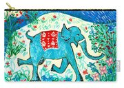 Blue Elephant Facing Right Carry-all Pouch