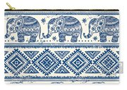Blue Elephant With Ornaments Design Carry-all Pouch