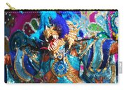 Blue Feather Carnival Costume And Colorful Background Horizontal Carry-all Pouch
