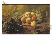 Blue Grapes And Peaches In A Wicker Basket Carry-all Pouch