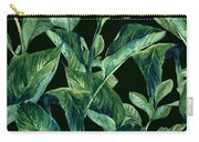 Blue Green Watercolor Tropical Leaves Carry-all Pouch