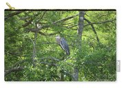 Blue Heron In Green Tree Carry-all Pouch