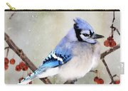 Blue Jay In Snowfall 3 Carry-all Pouch