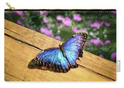 Blue Morpho Butterfly On A Wooden Board Carry-all Pouch