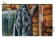 Blue Plaid Jacket In Cabin Carry-all Pouch by Susan Savad