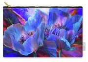 Blue Poppies On Red Carry-all Pouch