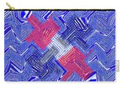 Blue Red And White Janca Abstract Panel Carry-all Pouch