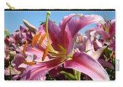 Blue Sky Floral Landscape Pink Lilies Art Prints Canvas Baslee Troutman Carry-all Pouch