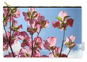 Blue Sky Landscape White Clouds Art Prints Pink Dogwood Flowers Baslee Troutman Carry-all Pouch