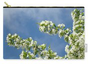 Blue Sky White Clouds Landscape Art White Tree Blossoms Spring Carry-all Pouch