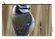 Blue Tit On Reed Carry-all Pouch