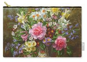 Bluebells Daffodils Primroses And Peonies In A Blue Vase Carry-all Pouch
