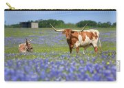 Bluebonnets And Longhorns 4 Carry-all Pouch