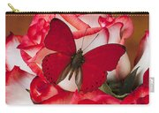 Blush Roses With Red Butterfly Carry-all Pouch